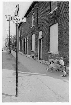 LeBreton Flats - Two children in LeBreton Flats in 1963, as the lands were being expropriated and the residents forced to vacate the neighbourhood.
