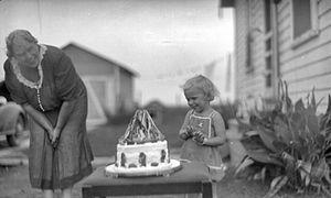 Birthday - Child with Snow White Cake, circa 1910–1940.