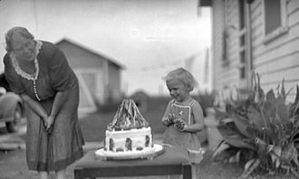 Birthday - Child with Snow White Cake, circa 1910–1940.
