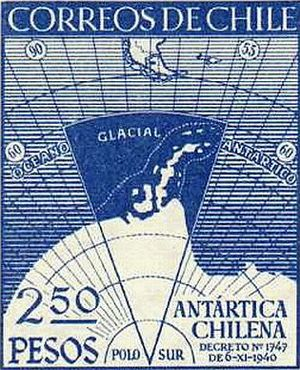 Presidential Republic (1925–73) - Commemorative stamp on the Declaration on the Antártica Chilena Province.