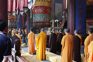 Dharmaguptaka - Bhikṣus performing a traditional Buddhist ceremony in Hangzhou, Zhejiang province, China