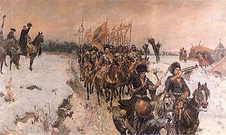 """Chorągiew (military unit) - """"Chorągiew pancerna of rotmistrz Józef Hulewicz"""" painted by Wojciech Kossak"""