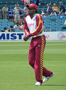 Gayle at the Prime Ministers XI cricket match in Canberra in 2010
