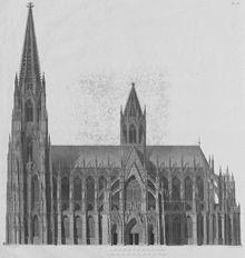 Engraving of Cologne Cathedral by Christian Friedrich Traugott Duttenhofer for Boisserée's Ansichten, Risse und einzelne Teile des Domes von Köln (1823–31) (Source: Wikimedia)