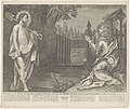 Christus verschijnt als tuinman aan Maria Magdalena (Noli me tangere) Christus post suam resurrectionem statim se obfert Mariae Magdalenae eamque consolatur (titel op object) Royaalbijbel (serietitel), RP-P-1903-A-23099.jpg