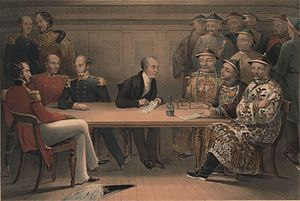 Robert Jocelyn, Viscount Jocelyn - Lord Jocelyn (standing second from left) in a conference between British and Chinese officials on board HMS ''Wellesley'' on 4 July 1840