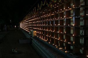 Thrikkakara Temple - The Chuttu-Vilakku (surrounding lamps) lit up during Onam at Thrikkakara temple