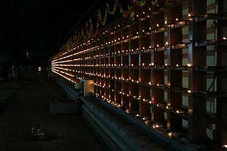 Thrikkakara Temple - The Chuttu-Vilakku (surrounding lamps) lit up during Onam at Thrikkakara temple
