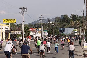 Ventura Boulevard - Looking eastward during CicLAvia, March 2015