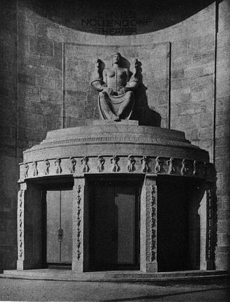 Ufa-Pavillon am Nollendorfplatz - Seated figure by Franz Metzner above the main entrance of the Cines Nollendorf-Theater, c.1913. In later years it was usually hidden behind a large advertising poster.