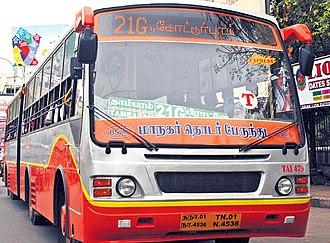 Metropolitan Transport Corporation (Chennai) - New vestibule bus with LED display