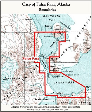 False Pass, Alaska - Boundaries of the city of False Pass, Alaska
