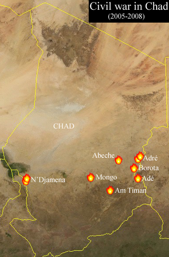 Chadian Civil War (2005–2010) - Major flashpoints of the conflict