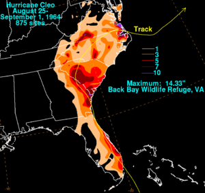 Hurricane Cleo - Cleo's rainfall in the United States