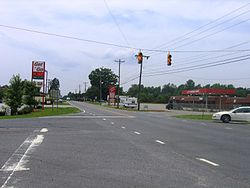 A view from the center of Climax, looking south on Highway 62