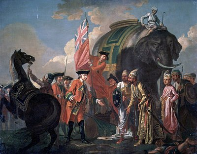 Dramatized painting by Francis Hayman of Robert Clive, meeting with Mir Jafar after the Battle of Plassey. - Siraj ud-Daulah