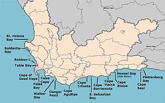 5th Portuguese India Armada (Albuquerque, 1503) - Headlands and bays around the Cape of Good Hope, South Africa