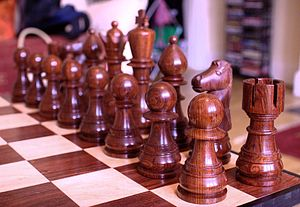 Cocobolo - Chess pieces made of cocobolo