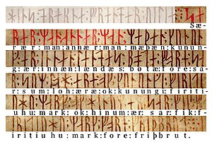 Codex Runicus - Transliteration of f.27 r from the first rubric.
