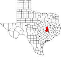 Map of Texas highlighting the Bryan–College Station metropolitan area