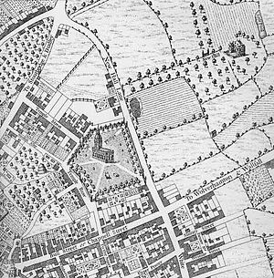 Colmore Row - Colmore Row, shown as New Hall Lane, on William Westley's 1731 map of Birmingham.