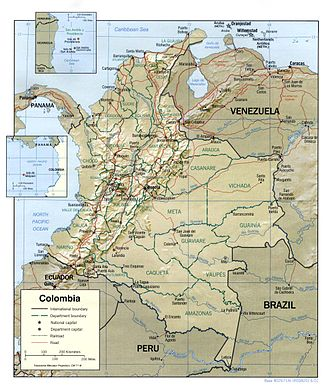 Outline of Colombia - An enlargeable relief map of the Republic of Colombia
