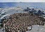 Commanding Officer speaks to 11th MEU Marines on the flight deck of USS Somerset. (31088962780).jpg