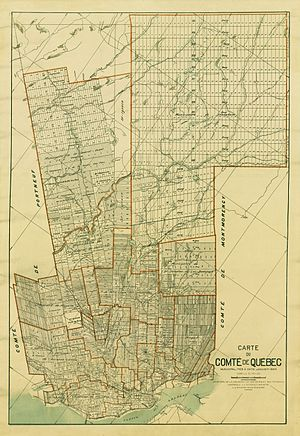 Quebec County, Quebec - Map of the municipalities of the County of Quebec, as they existed in January 1924.