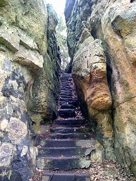 "Consdorf, stairs through the rocks near ""Buergkapp"""