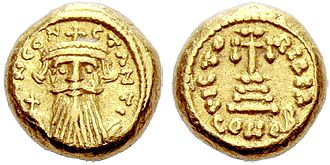 Constans II - A solidus (coin) of Constans II that was minted in Carthage.