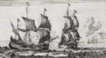 Copper engraving titled 'Port View With Two Flute Ships' by Reinier Nooms, late 17th century..png