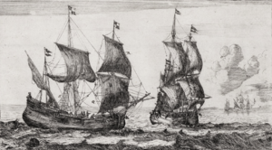 Leendert Hasenbosch - Port View With Two Flute Ships, copper engraving by Reinier Nooms, late 17th century.