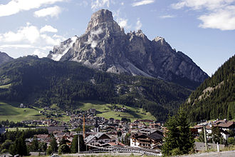 Corvara, South Tyrol - Corvara in July 2007 with Mount Sassongher in the background