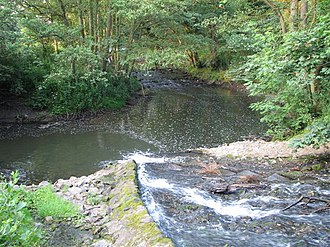 River Leven, North Yorkshire - Image: Coul Beck joining the River Leven