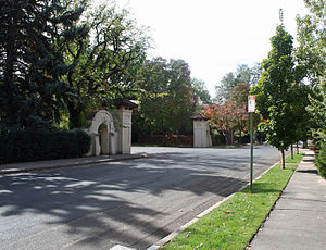 Country Club, Denver - One of the gates to the Country Club Place subdivision in the Country Club Neighborhood along 4th Avenue in Denver.