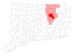Location in Tolland County, Connecticut