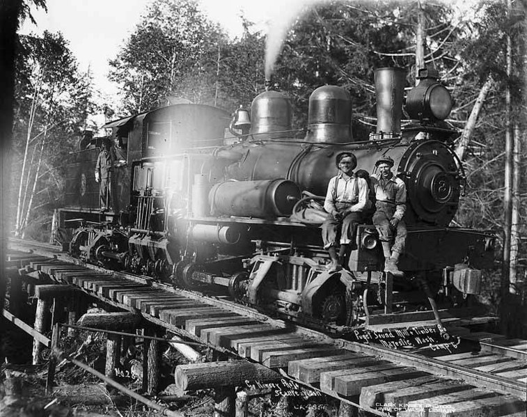 File:Crew with Puget Sound Mill and Timber Company's two-truck Shay locomotive no 2, camp 6, possibly at Majestic, ca 1922 (KINSEY 1273).jpeg