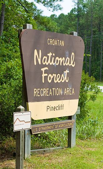 Croatan National Forest - Entrance sign for the Pinecliff recreation area. A MST sign is nearby.