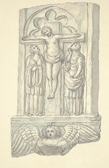 Crucifiction found in the wall of the old church at Halkin, c.1795.jpg