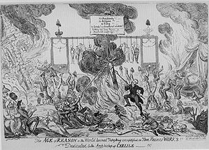 "A caricature showing the world in flames, people hanged in the background, people burning and attacking a crucifix, a sign reading ""No Christianity, No Religion, No King"", and scores of people standing upside down."