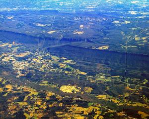 Escarpment face of a cuesta, broken by a fault. Lookout Mountain, Georgia