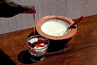 Dahi (curd) - A cup of dahi ready for the dessert