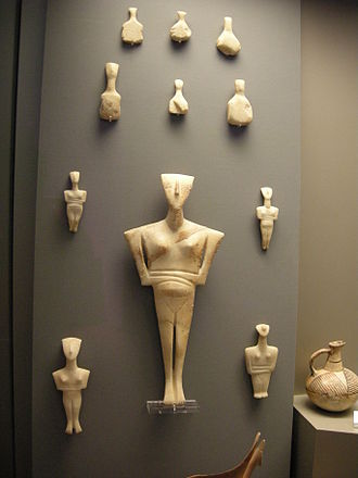 Cycladic art - Cycladic figurines, of the FAF type below, in the National Archaeological Museum of Athens