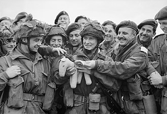 Pathfinder (military) - Paratroopers of the 22nd Independent Parachute Company with their toy mascot 'Pegasus' at RAF Harwell, Berkshire, preparing for Operation Tonga, 5 June 1944.
