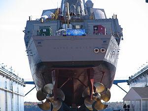 USS Wayne E. Meyer - Stern view of USS Wayne E. Meyer prior to launching 18 October 2008