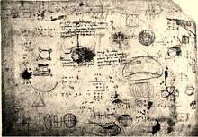 Pagina del Codice Atlantico con schizzi di otto proiezioni del globo, studiate da Leonardo