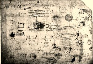 Octant projection -  Outline in Codex Atlanticus with sketches of eight other projections of the globe being studied by Leonardo