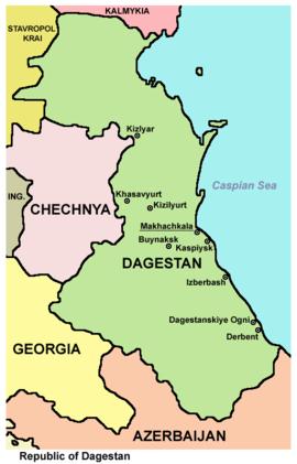 Map of Dagestan