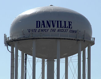 "Danville, Kentucky - Danville, Kentucky Water Tower viewed from the north. Features the motto ""Quite Simply the Nicest Town"""