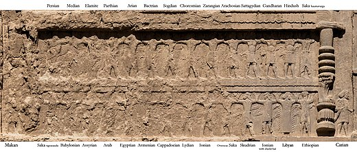 Soldiers of the Empire, on the tomb of Darius II. Darius II soldiers with labels.jpg